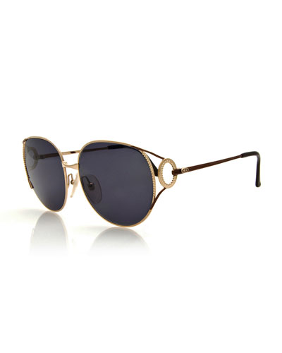 Oversized Monochromatic Bead-Trim Sunglasses, Gold