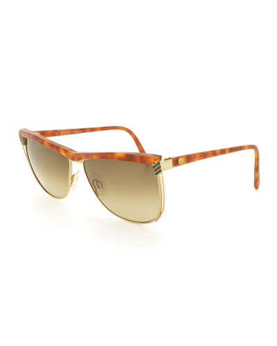 Gradient Square Sunglasses, Light Havana/Gold