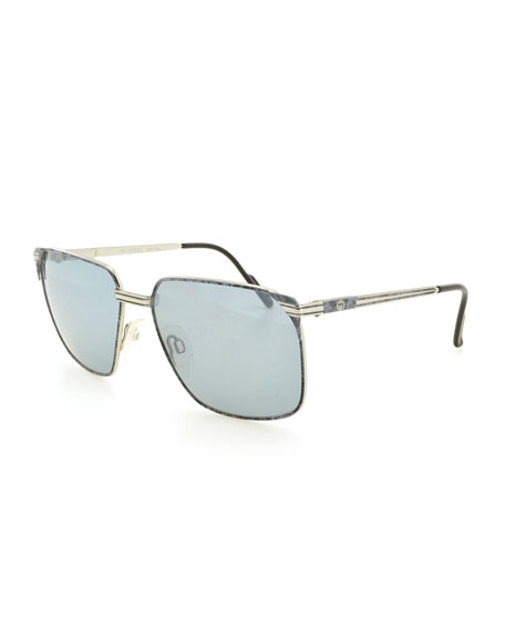 Gucci Square Metal Sunglasses, Gray/Gold