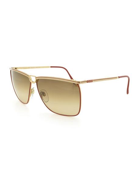 Square Metal Horseshoe Sunglasses, Gold