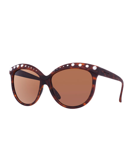 Italia Independent I-Lux Glossy Cat-Eye Sunglasses, Havana