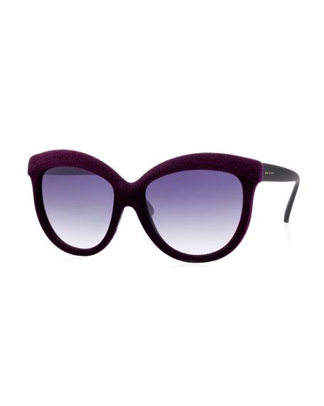 I-Plastik Velvet-Textured Enhanced-Brow Gradient Sunglasses, Burgundy