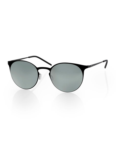 I-Metal Thin Peaked Round Sunglasses, Black