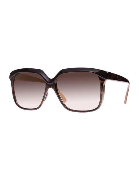 I-Plastik Glossy Square Sunglasses, Brown