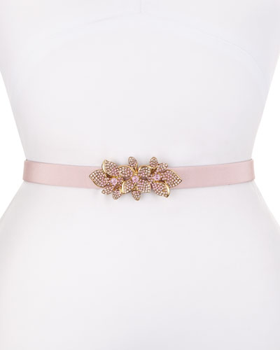 Floral Rhinestone-Buckle Silk Faille Belt, Soft Petal