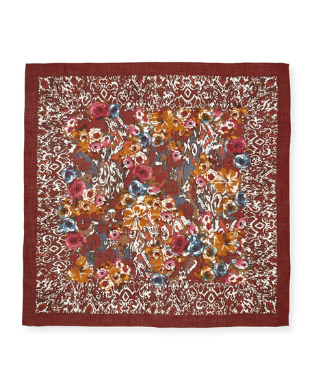Rose Sauvage Berbère Cashmere-Silk Shawl, Red Pattern