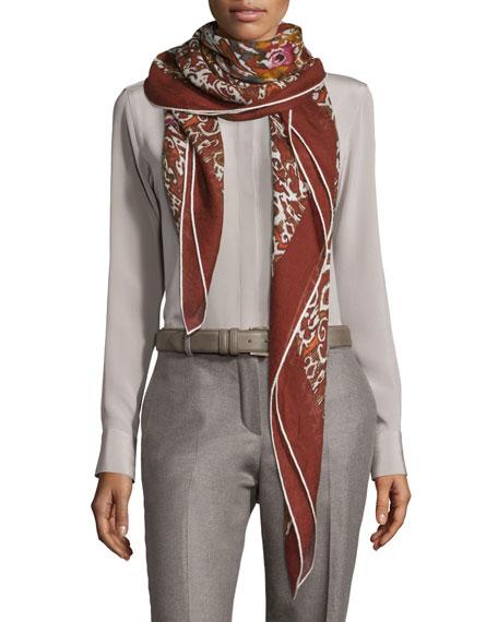 Rose Sauvage Berbere Cashmere-Silk Shawl, Red Pattern