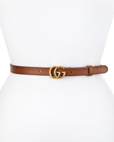 Thin GG Leather Belt, Brown