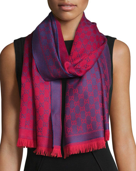 Reversible Wool Stencil Scarf, Purple/Red