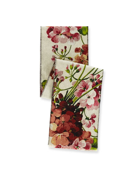 Miniorophin Floral & Logo Wool Scarf, White/Pink