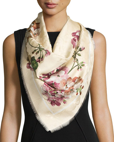 Gerabloom Jacquard Square Silk Scarf, White/Pink