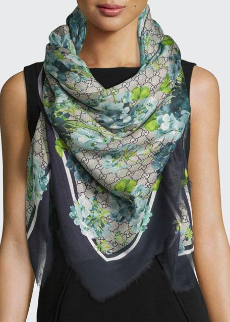 Gucci New Blooms GG-Print Square Shawl, Blue