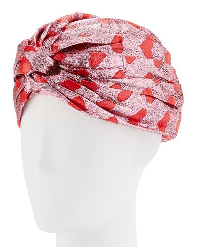 Lucina Metallic Heart Headband, Pink/Red