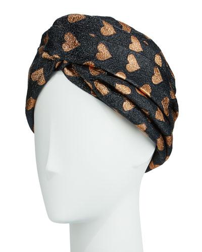 Lucina Metallic Heart Headband, Black/Copper