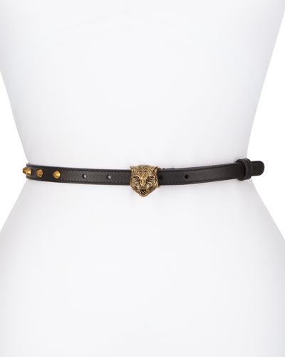 Studded Leather Tiger-Clasp Belt, Black
