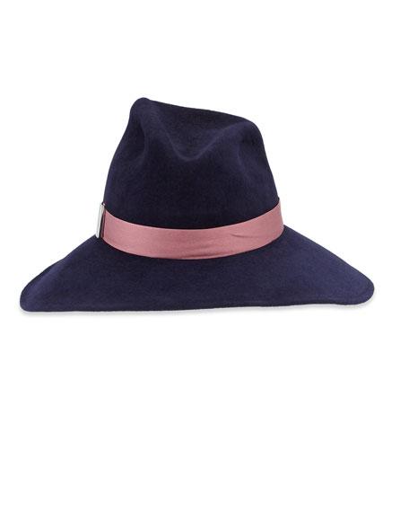Drake Wool Wide-Brim Fedora Hat, Navy