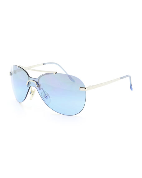 Baby Gradient Aviator Sunglasses, Silver/Blue