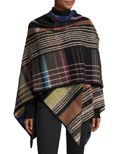 Plaid Wool-Blend Wrap, Blue
