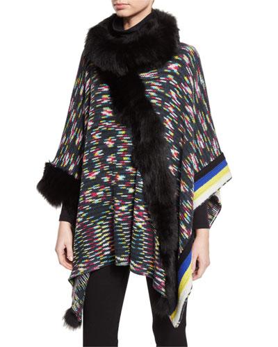 Wool Poncho w/ Fur Trim, Black/Multicolor