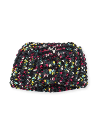 Cashmere Turban Beanie, Black/Multicolor
