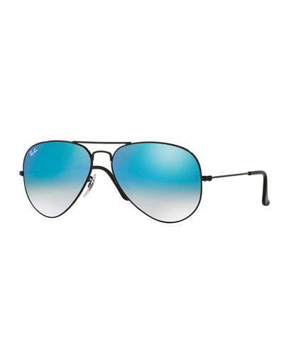 Ombre-Mirrored Aviator Sunglasses, Black/Blue