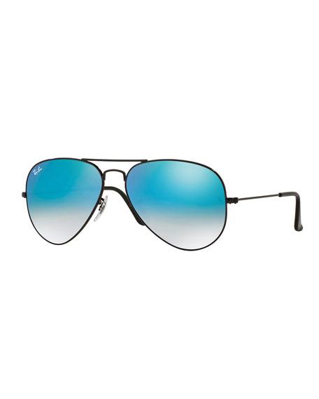 Ombre-Mirrored Aviator Sunglasses, Black/Blue