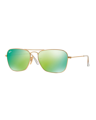 Square Ombre-Mirrored Aviator Sunglasses, Golden/Green