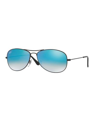 Small Ombre-Mirrored Aviator Sunglasses, Black/Blue