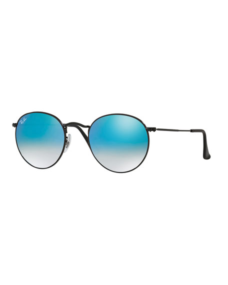 Round Ombre-Mirrored Sunglasses, Black/Blue