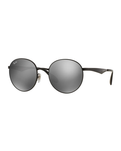 Round Mirrored Sunglasses, Black/Gray