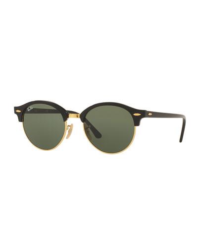 Round Monochromatic Clubmaster® Sunglasses, Black/Green