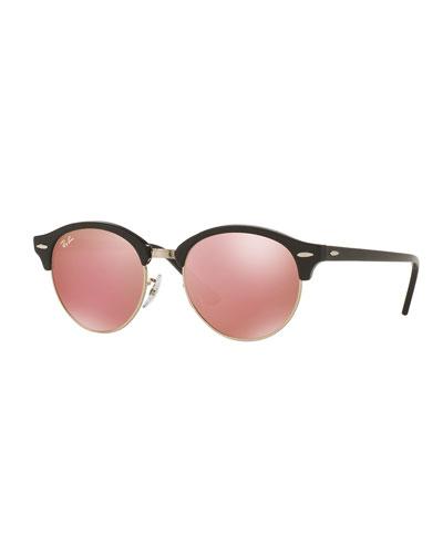 Round Mirrored Clubmaster® Sunglasses, Black/Pink
