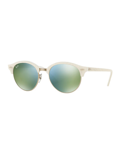 Round Mirrored Clubmaster® Sunglasses, White/Green