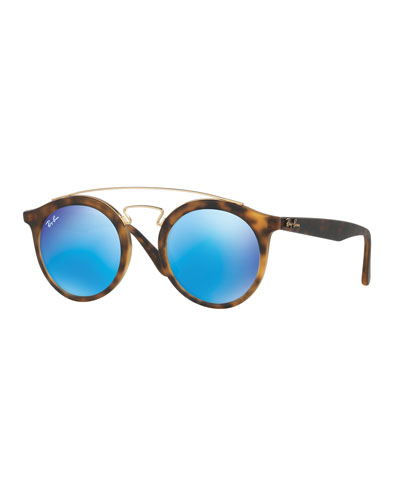 Round Mirrored Brow-Bar Sunglasses, Havana/Blue