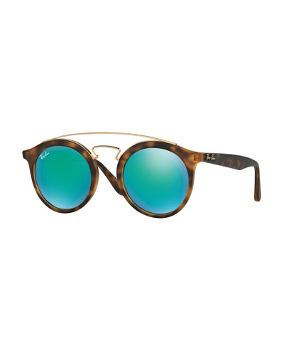 Round Mirrored Brow-Bar Sunglasses, Brown/Green