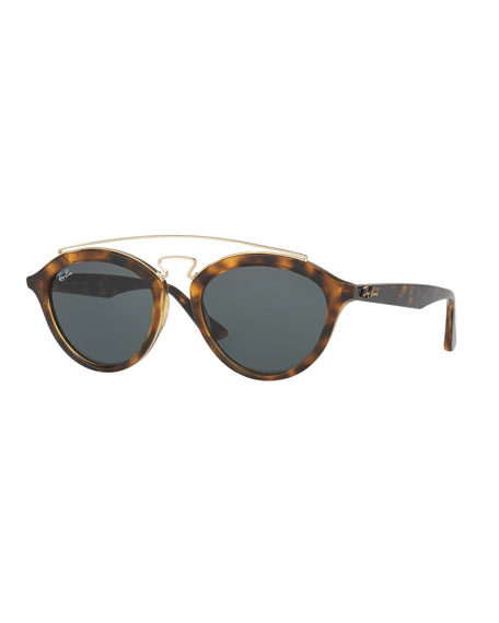 Ray-Ban Monochromatic Brow-Bar Sunglasses, Havana/Dark Green