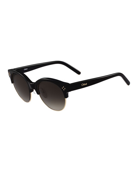 Chloe Boxwood Gradient Square Sunglasses, Black
