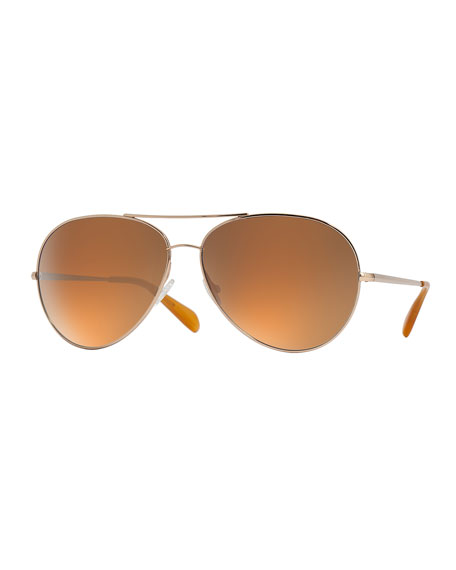 Oversized Mirrored Aviator Sunglasses  oliver peoples sayer oversized mirrored aviator sunglasses gold