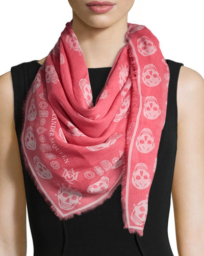 Kings & Queens Skull Voile Scarf, Fuchsia