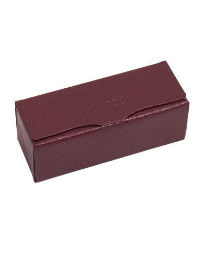 Leather Two-Frame Glasses Case, Burgundy