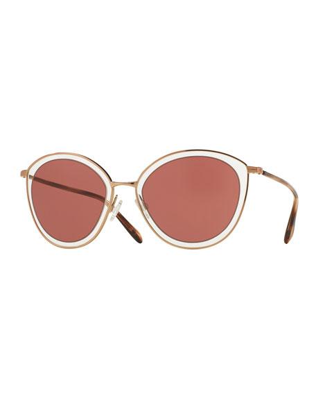 Gwynne Monochromatic Cat-Eye Sunglasses, Rose Gold