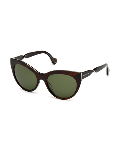 Cat-Eye Twist-Temple Sunglasses, Havana