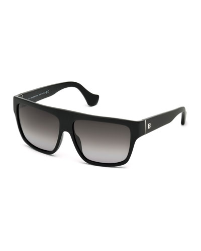Gradient Flat-Top Sunglasses, Black