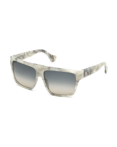 Gradient Flat-Top Sunglasses, Ice Melange