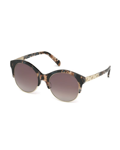 Metal-Trim Gradient Butterfly Sunglasses, Rose Havana