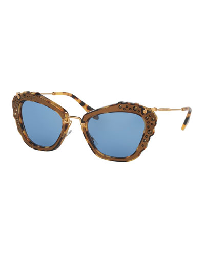 Jeweled Cat-Eye Sunglasses, Marble Gold