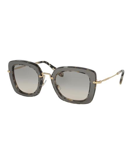 Trimmed Gradient Square Sunglasses, Black/White