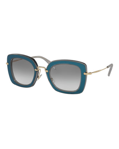 Trimmed Gradient Square Sunglasses, Gray/Blue