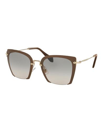 Square Gradient Cutoff Sunglasses, Beige