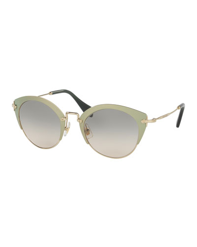 Trimmed Gradient Cat-Eye Sunglasses, Green